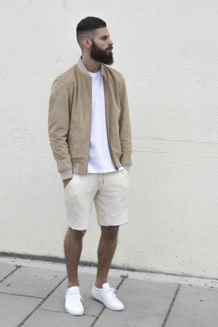 tan-bomber-jacket-white-crew-neck-t-shirt-beige-shorts-white-low-top-sneakers-original-11895
